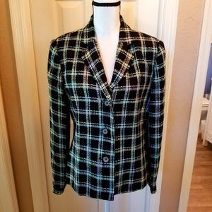 Woven Black Jacket with Colored Plaid Pattern